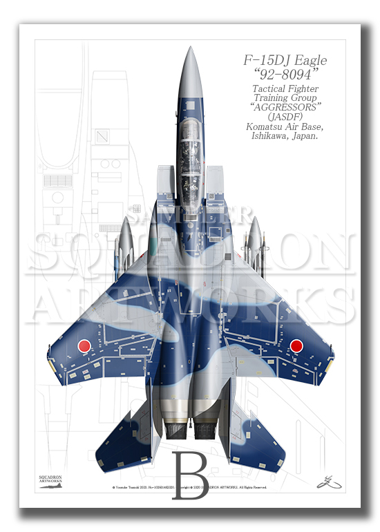 """Top view 縦向き"" F-15DJ イーグル 飛行教導群 ""92-8094"" (A3サイズ Prnts)"