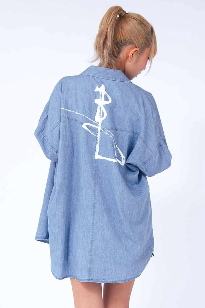 【即納】Oversized Denim shirt for Ladies -オーバーサイズデニムシャツ(レディース)-
