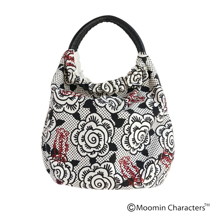 【MOOMIN×a part of me.】オックスフラワー+ムーミンロゴプリント 丸ハンドルバッグ