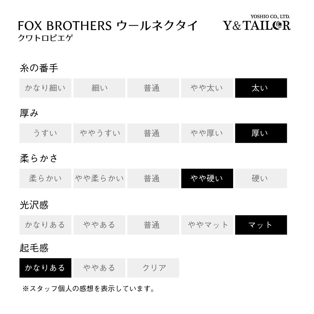 ネクタイ ウール クワトロピエゲ グレンチェック 千鳥 FOX BROTHERS FLANNEL フォックスブラザーズ フランネル 2VARIATION