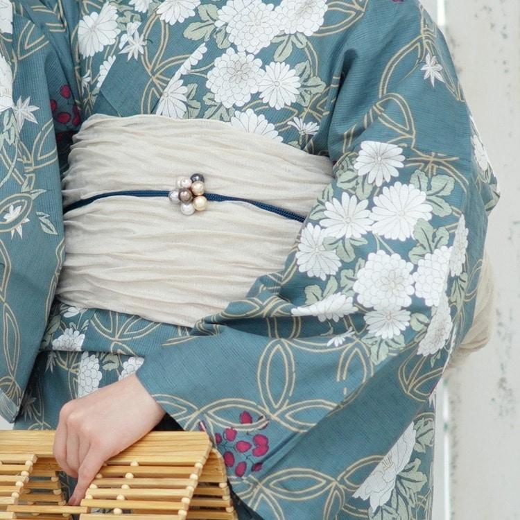 utatane 浴衣3点セット(F)変わり生地 古典柄 レトロ アンティーク系 花七宝 鉄紺系