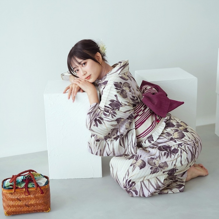 utatane 浴衣3点セット(F)古典柄 レトロ アンティーク系 菖蒲 グレー系