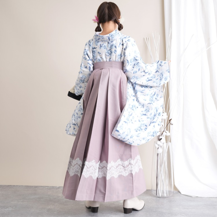 【レンタル品】 かぷり 2尺袖 袴 16点セット 91cm レース 華やか 可愛い系 花 ベージュ系