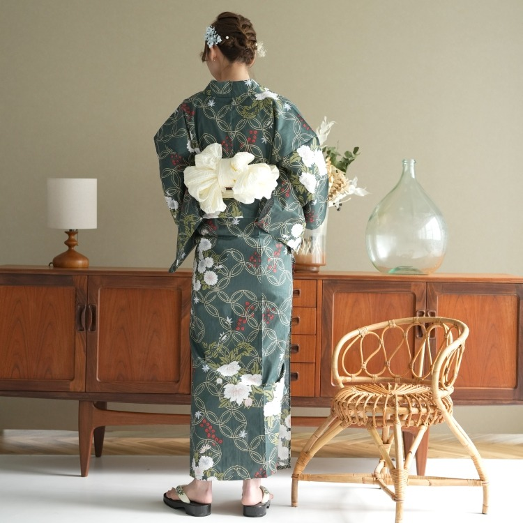 浴衣3点セット utatane 古典柄 レトロ アンティーク 系 花七宝 ブルーグレー 系