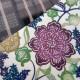 半幅帯(正絹)日本製 古典柄 レトロ アンティーク系 紅型風 マルチ系
