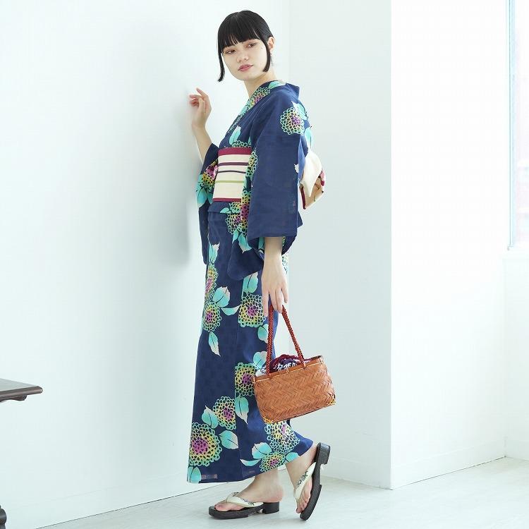 utatane 浴衣3点セット(F)注染-本染め 古典柄 レトロ アンティーク系 紫陽花 紺系