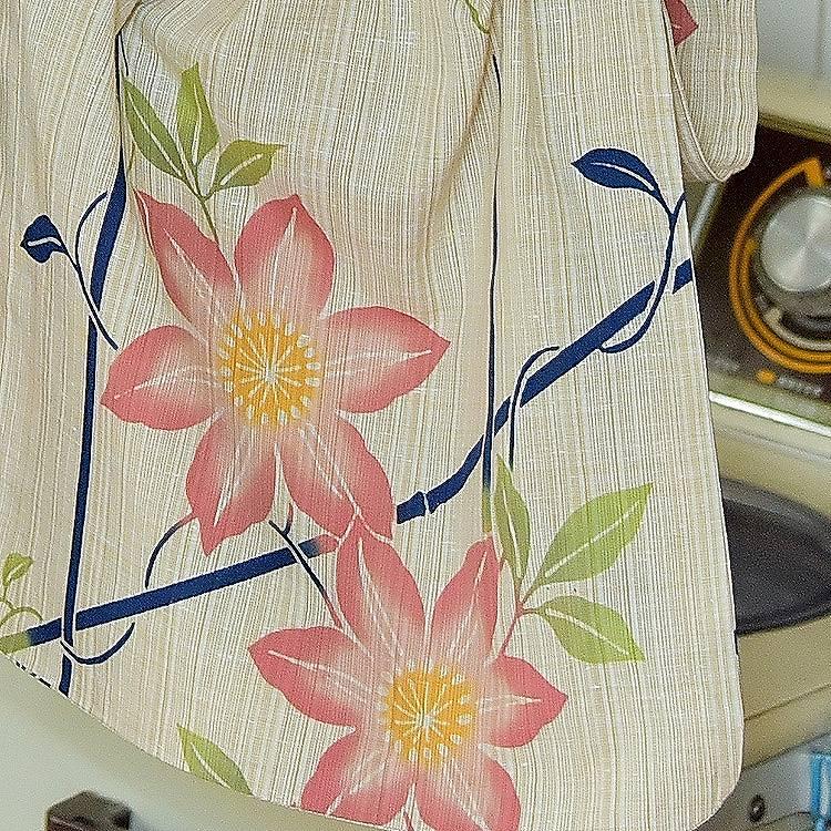 浴衣3点セット なないろ 注染 古典柄 レトロ アンティーク 系 花柄 ベージュ 系