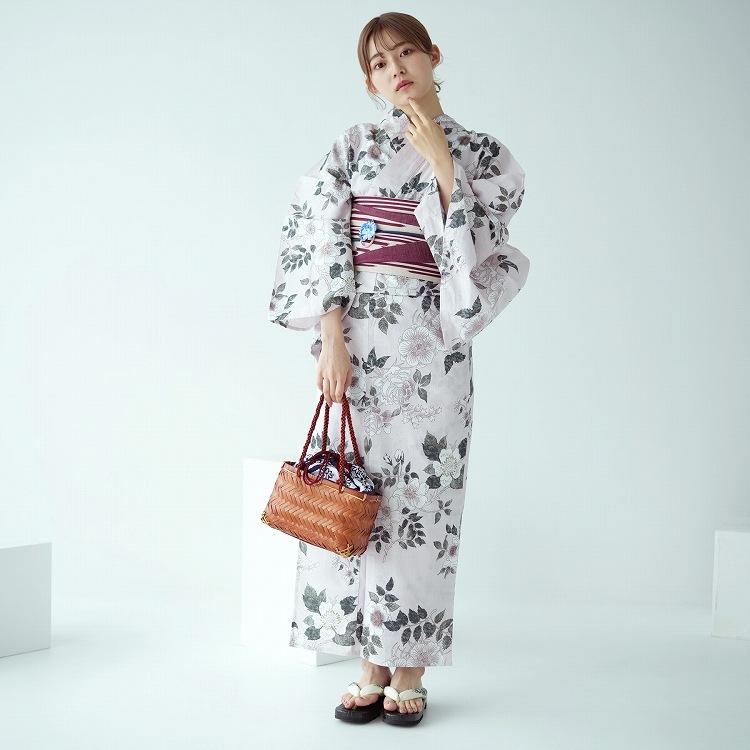 utatane 浴衣3点セット(F)変わり生地 古典柄 レトロ アンティーク系 薔薇 薄ピンク系