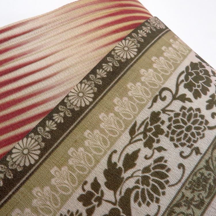 半幅帯(正絹)日本製 古典柄 レトロ アンティーク系 唐花 カーキ系