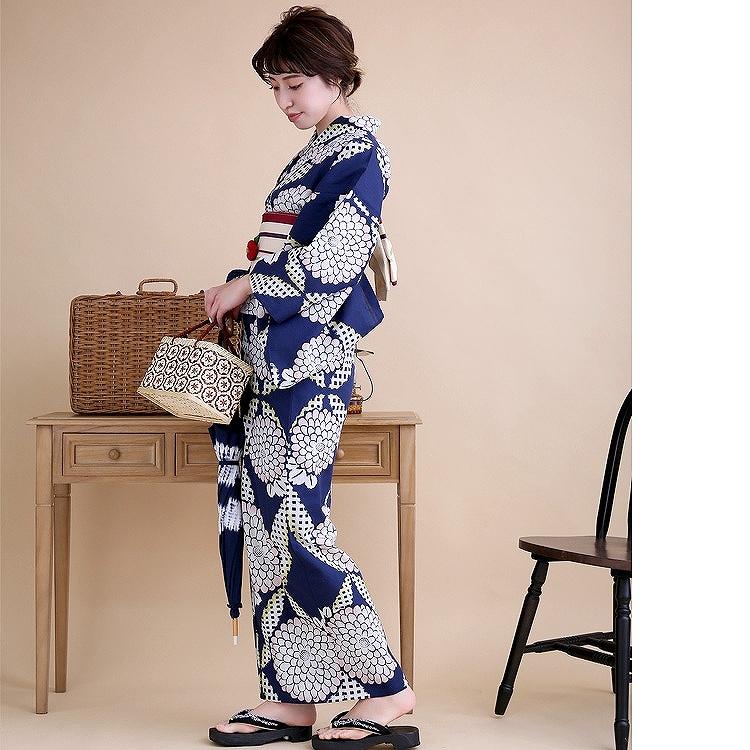 浴衣3点セット utatane 注染 古典柄 レトロ アンティーク 系 菊 紺 系
