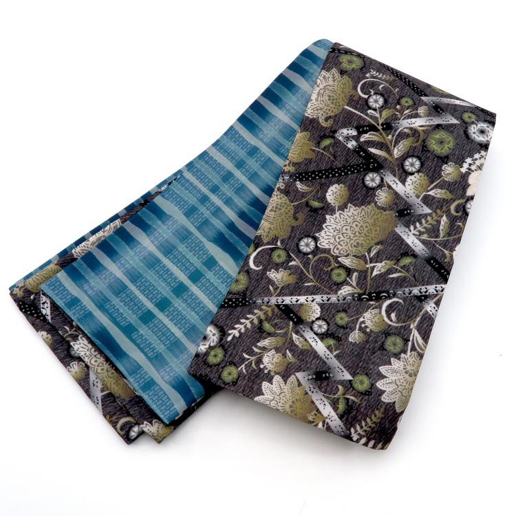 半幅帯(正絹)日本製 古典柄 レトロ アンティーク系 草花 黒系