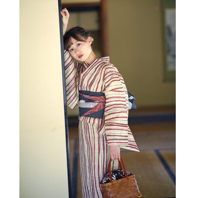 浴衣3点セット(S)綿麻 古典柄 レトロ アンティーク系 縞 ベージュ系