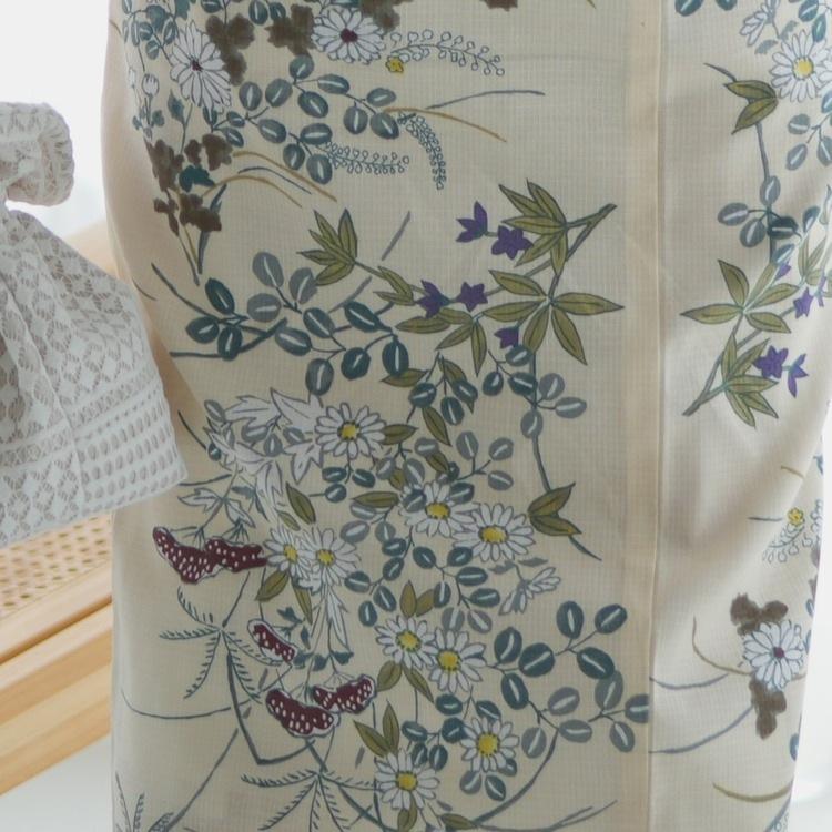 utatane 浴衣3点セット(F)変わり生地 古典柄 レトロ アンティーク系 小菊 ベージュ系