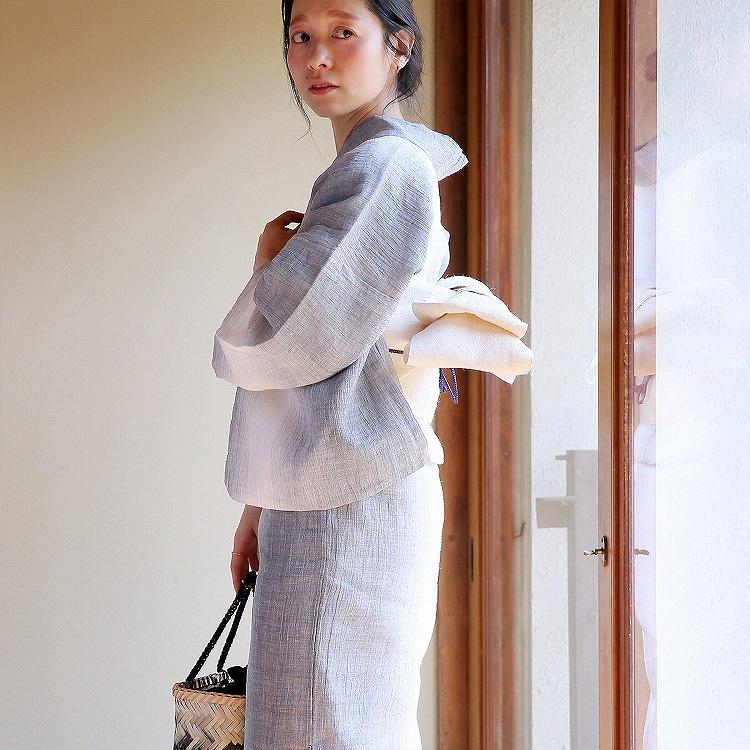 浴衣3点セット  レトロモダン 系 縞 グレー 系