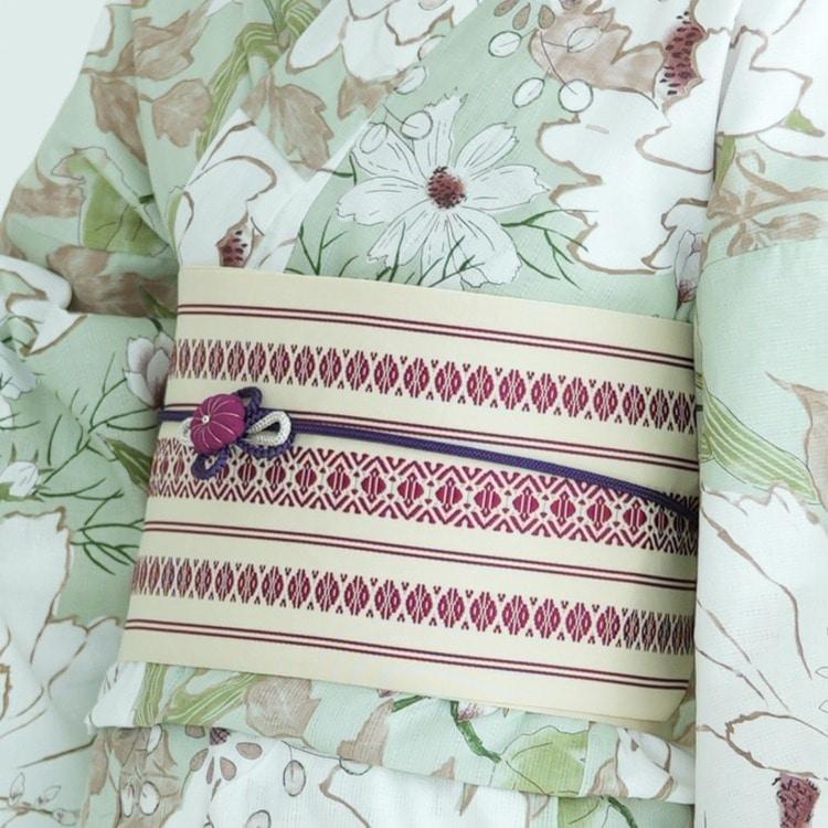 utatane 浴衣3点セット(F)変わり生地 古典柄 レトロ アンティーク系 牡丹 グリーン系