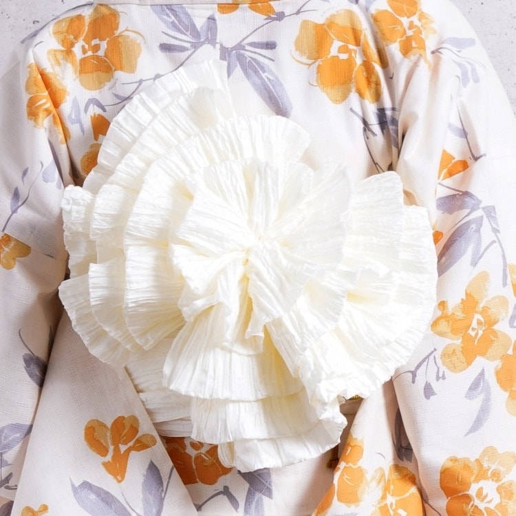 utatane 浴衣3点セット(F)ワンタッチタイプ ワンタッチ 華やか 可愛い系 花 ベージュ系
