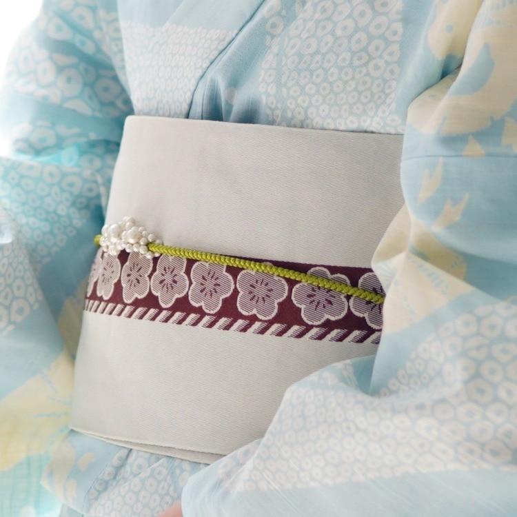 utatane 浴衣3点セット(F)注染-本染め 古典柄 レトロ アンティーク系 千鳥 水色系