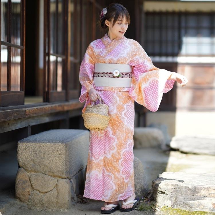 utatane 浴衣3点セット(F)有松絞り 古典柄 レトロ アンティーク系 花柄 オレンジ系