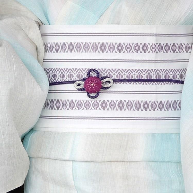 浴衣3点セット  レトロモダン 系 縞 水色 系