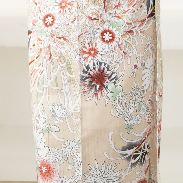 utatane 浴衣3点セット(TL)変わり生地 古典柄 レトロ アンティーク系 糸菊 ベージュ系