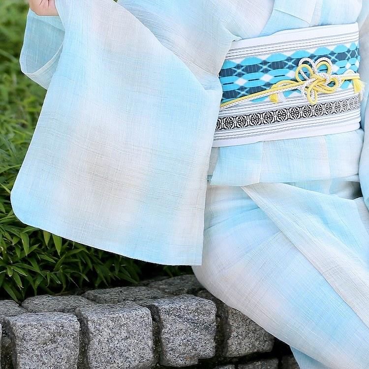 浴衣3点セット  レトロモダン 系 格子 水色 系