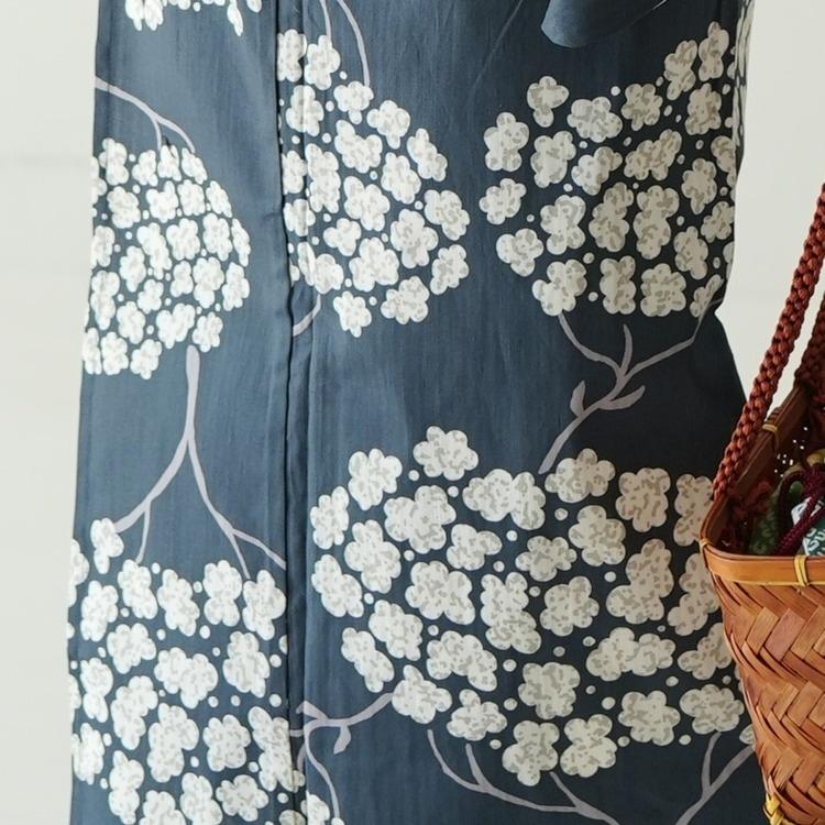 ニコアンティーク 浴衣3点セット(F)変わり生地 古典柄 レトロ アンティーク系 紫陽花 黒系