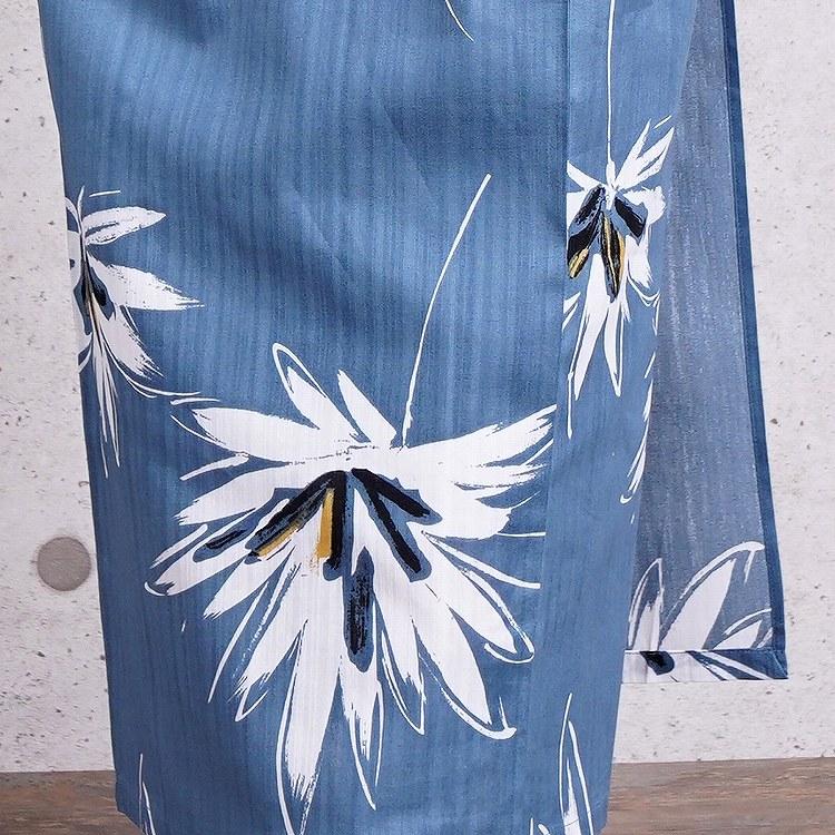 浴衣3点セット utatane 古典柄 レトロ アンティーク 系 花 ブルー 系