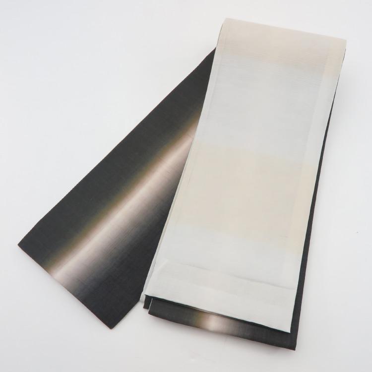 半幅帯(正絹)日本製 古典柄 レトロ アンティーク系 縞 黒系