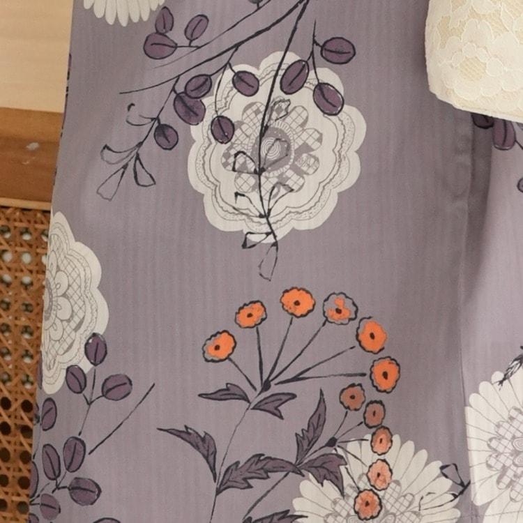 ニコアンティーク 浴衣3点セット(F)変わり生地 クール シック モノトーン系 花々 紫系