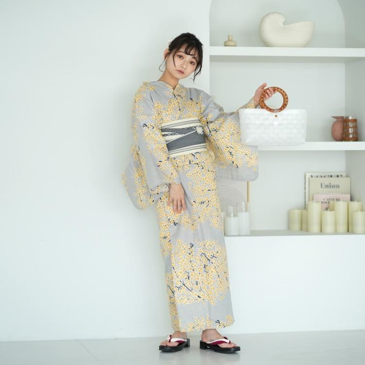 utatane 浴衣3点セット(TL)変わり生地 古典柄 レトロ アンティーク系 ミモザ グレー系
