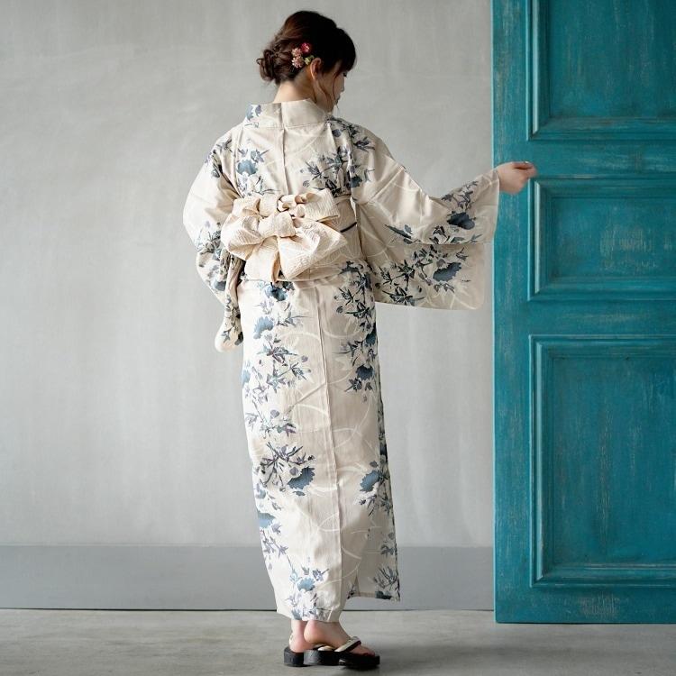 浴衣3点セット utatane 古典柄 レトロ アンティーク 系 草花 ベージュ 系