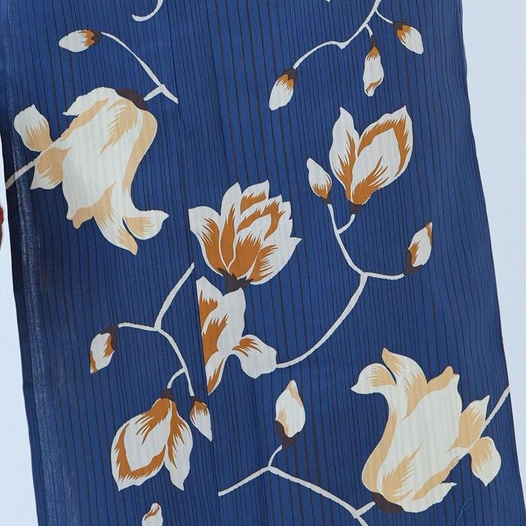 浴衣3点セット ニコアンティーク 大人 綺麗 系 花と蕾 紺 系