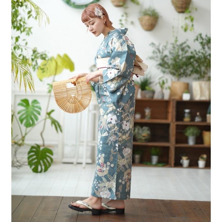 utatane 浴衣3点セット F寸  (浴衣/帯/下駄) 古典柄 レトロ アンティーク 系 草花 鉄紺 系