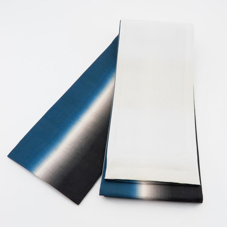 半幅帯(正絹)日本製 古典柄 レトロ アンティーク系 縞 ターコイズ系