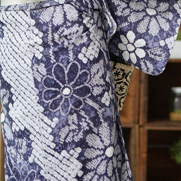 浴衣3点セット utatane 有松絞り 大人 綺麗 系 花 紺 系