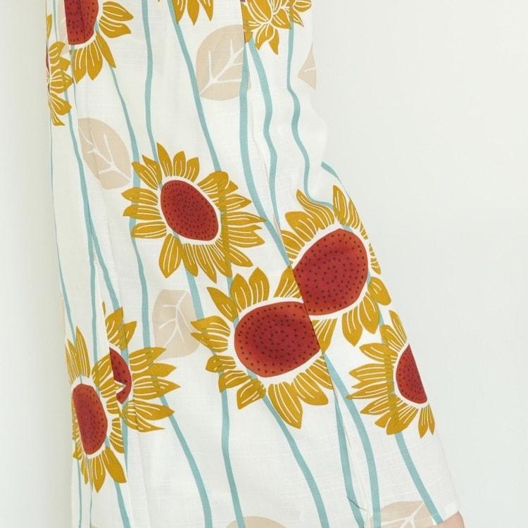 浴衣3点セット utatane 古典柄 レトロ アンティーク 系 向日葵 白 系