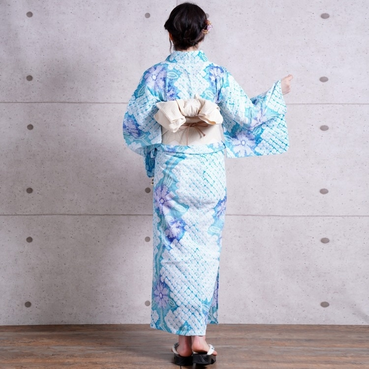 浴衣3点セット utatane 有松絞り 大人 綺麗 系 コスモス ターコイズ 系