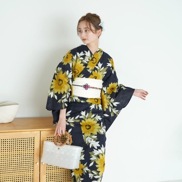 浴衣3点セット utatane 古典柄 レトロ アンティーク 系 向日葵 紺 系