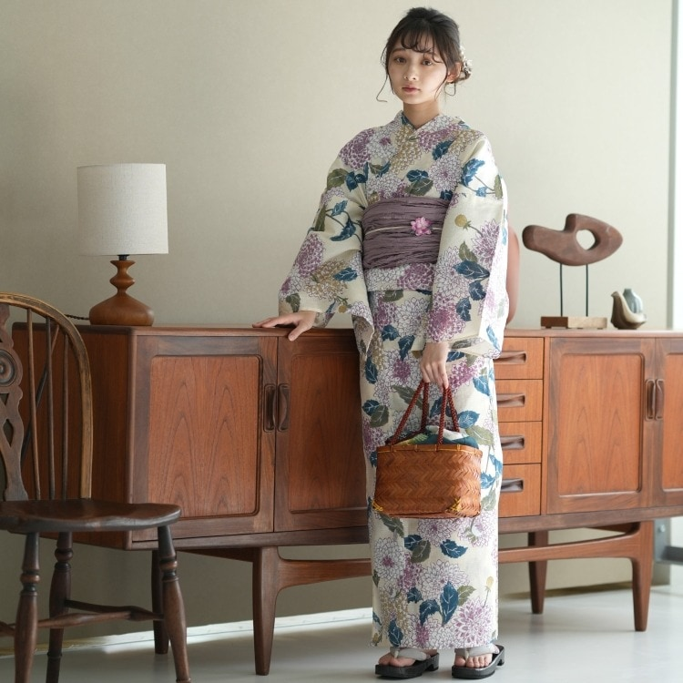 浴衣3点セット utatane 古典柄 レトロ アンティーク 系 菊 アイボリー 系