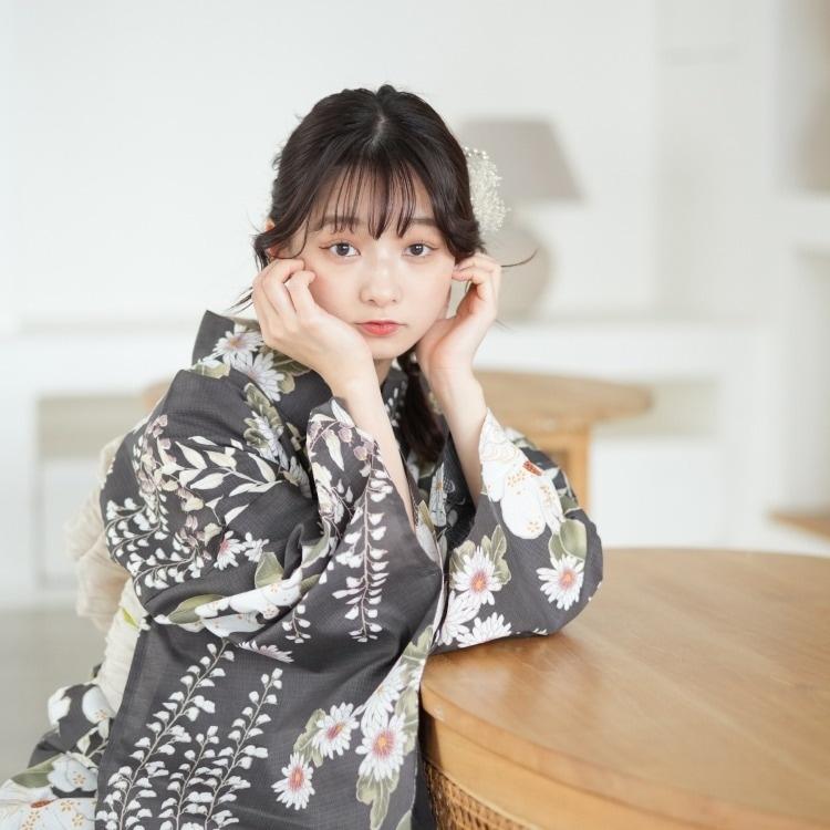 utatane 浴衣3点セット(F)変わり生地 大人 綺麗系 椿 茶系