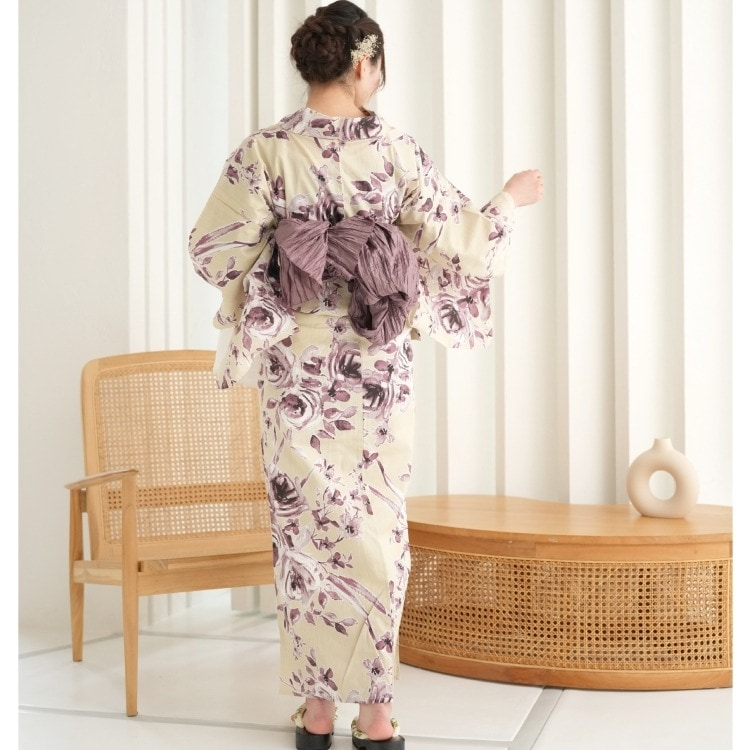 浴衣3点セット ニコアンティーク 古典柄 レトロ アンティーク 系 薔薇 クリーム 系