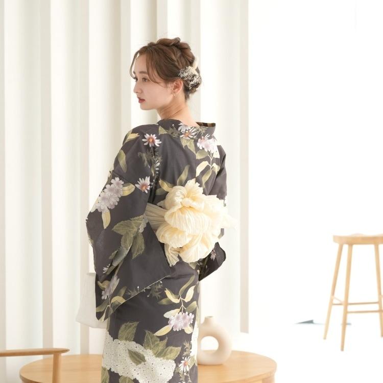 浴衣3点セット utatane 大人 綺麗 系 紫陽花 茶 系