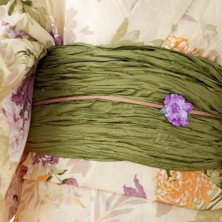 ニコアンティーク 浴衣3点セット(F)変わり生地 古典柄 レトロ アンティーク系 花々 ベージュ系