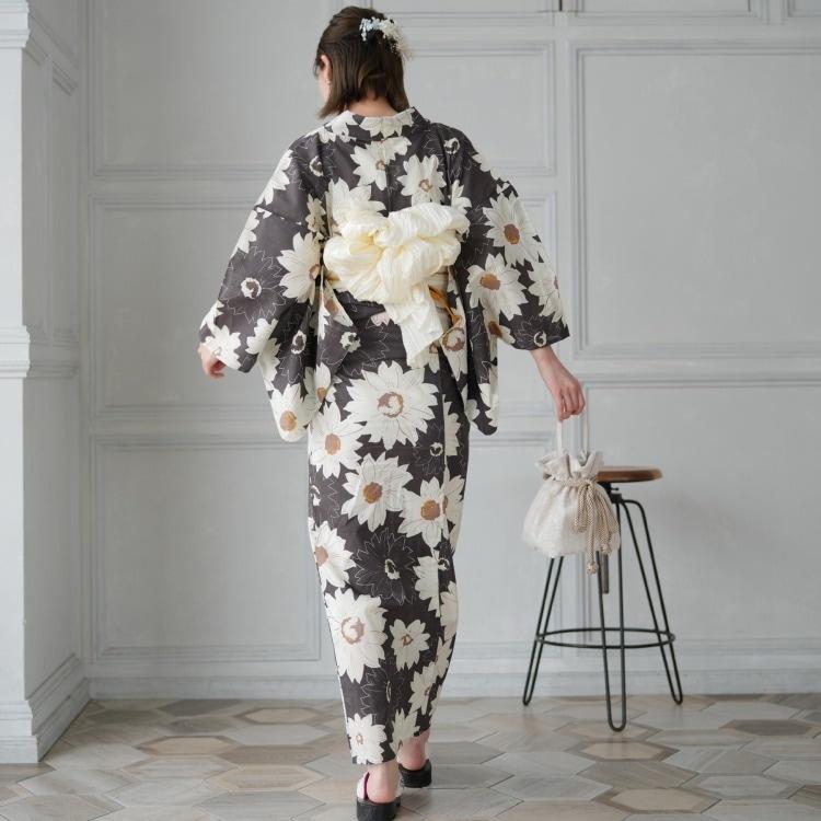 浴衣3点セット utatane レトロモダン 系 ひまわり 茶 系