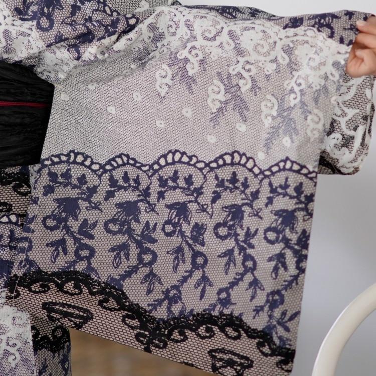 浴衣3点セット ニコアンティーク×モダンアンテナ 古典柄 レトロ アンティーク 系 ミルフィーユ 紺 系