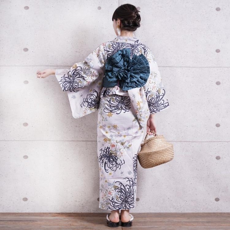 浴衣3点セット utatane 古典柄 レトロ アンティーク 系 糸菊 ピンクベージュ 系