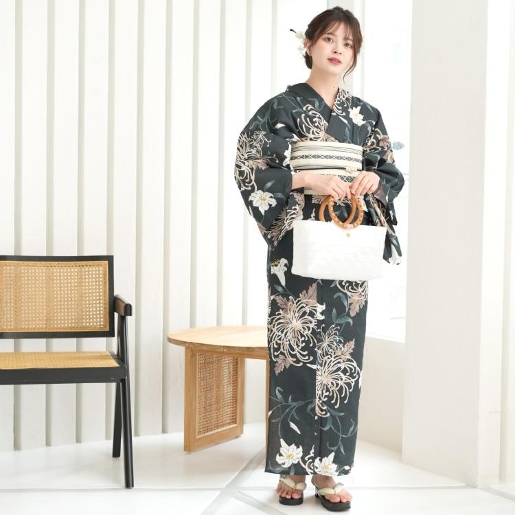 utatane 浴衣3点セット(F)変わり生地 大人 綺麗系 糸菊 鉄紺系