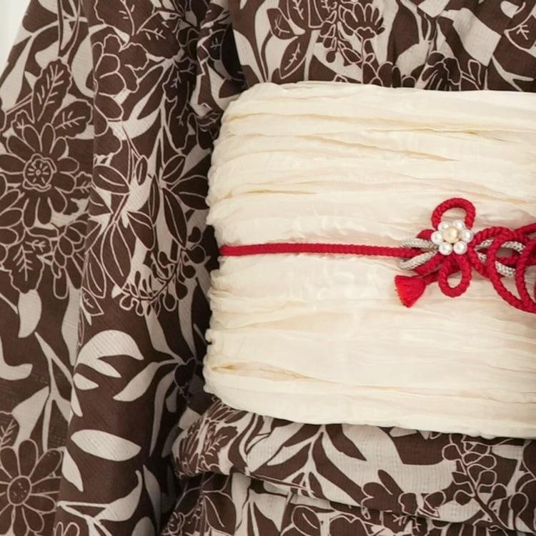 ニコアンティーク×モダンアンテナ 浴衣3点セット(TL)変わり生地 クール シック モノトーン系 マーガレット 赤茶系