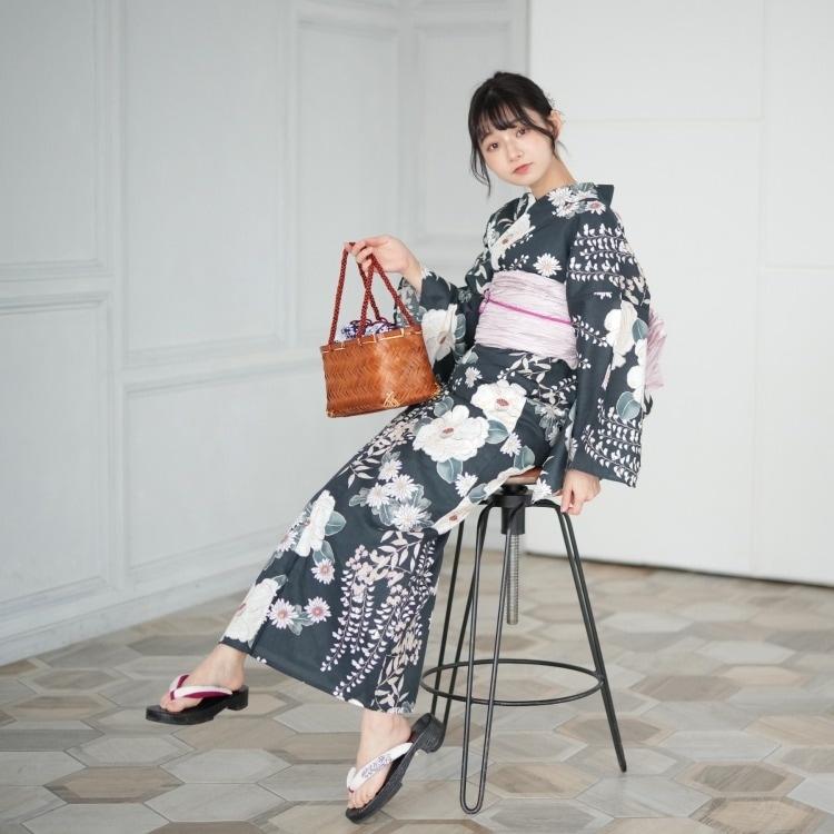 utatane 浴衣3点セット(F)変わり生地 大人 綺麗系 椿 鉄紺系