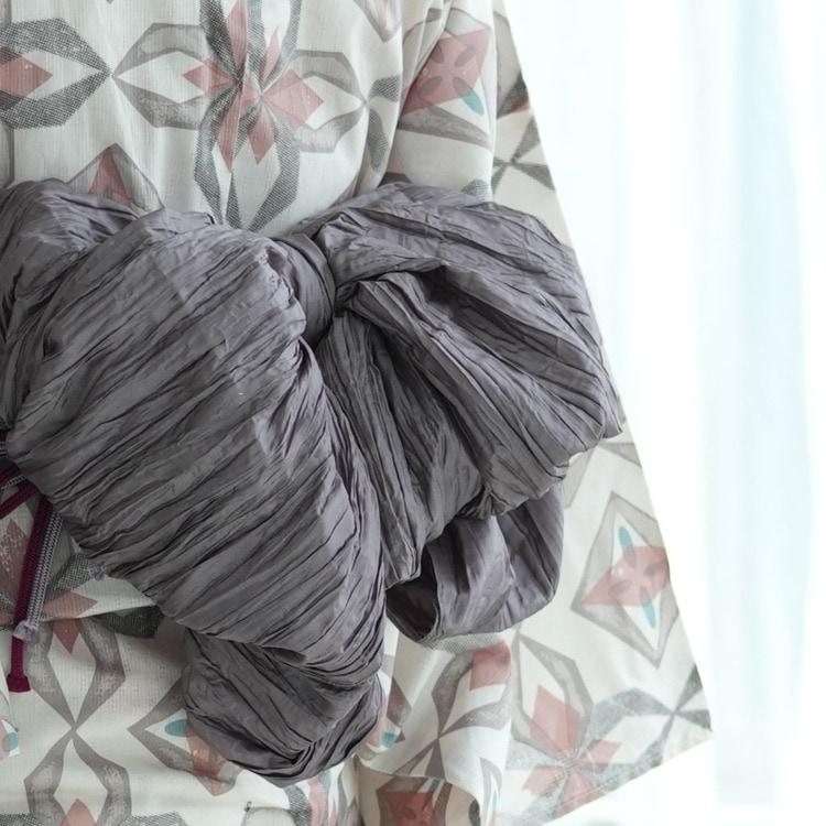 浴衣3点セット ニコアンティーク×モダンアンテナ 幾何学 モダン 系 プリズム オフ白 系